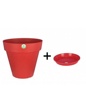 Pot et Soucoupe SOLEILLA diametre 20cm H18cm rouge - RIVIERA