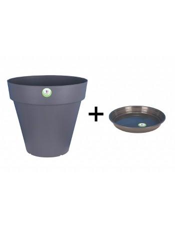 Pot et Soucoupe SOLEILLA diametre 20cm H18cm gris - RIVIERA