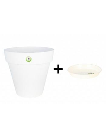 Pot et Soucoupe SOLEILLA diametre 30cm H27cm blanc - RIVIERA