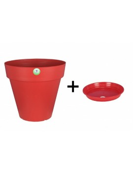 Pot et Soucoupe SOLEILLA diametre 30cm H27cm rouge - RIVIERA
