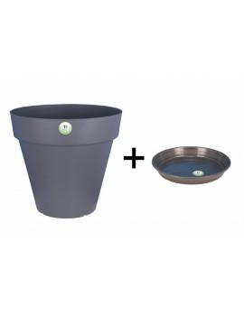 Pot et Soucoupe SOLEILLA diametre 50cm H45cm gris - RIVIERA