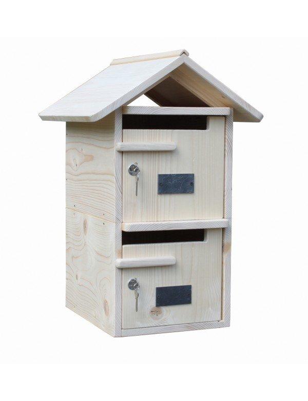 boite aux lettres bois double toit bois massif. Black Bedroom Furniture Sets. Home Design Ideas