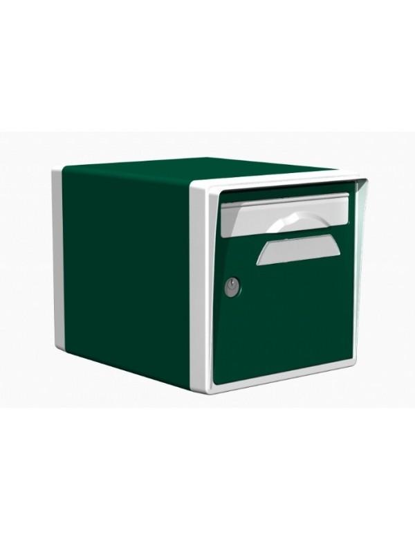 Boite aux lettres 1 porte vert foret blanche - Porte boite aux lettres normalisee ...