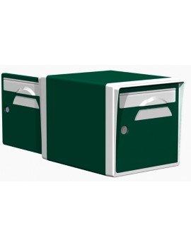 Boite aux lettres 2 portes vert foret-blanche - CREASTUCE-03-DF