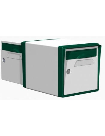 Boite aux lettres 2 portes blanche-vert foret - CREASTUCE-04-DF