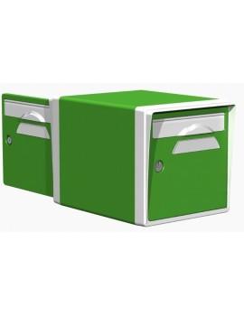 Boite aux lettres 2 portes vert mai-blanche - CREASTUCE-05-DF