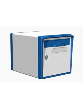 Boite aux lettres 1 porte blanche-bleue - CREASTUCE-10-SF