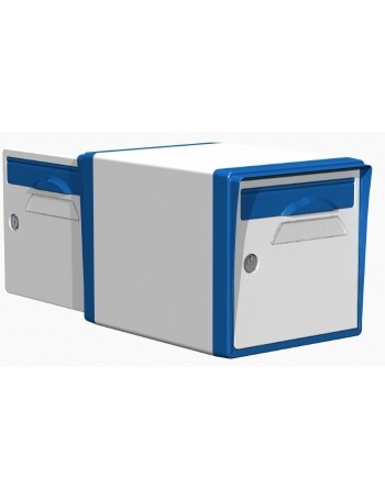Boite aux lettres 2 portes blanche-bleue - CREASTUCE-10-DF