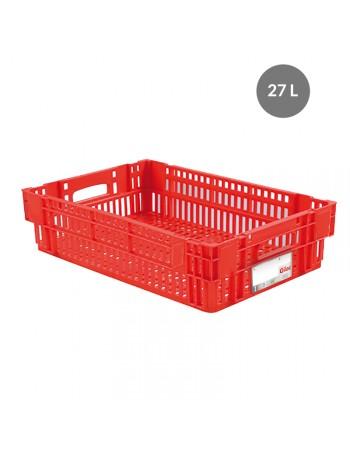 CAISSE LIAISON FROIDE AJOUREE 27 Litres ROUGE - GILAC