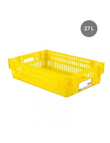 CAISSE LIAISON FROIDE AJOUREE 27 Litres JAUNE - GILAC