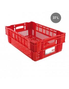 CAISSE LIAISON FROIDE AJOUREE 37 Litres ROUGE - GILAC