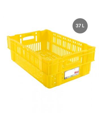 CAISSE LIAISON FROIDE AJOUREE 37 Litres JAUNE - GILAC