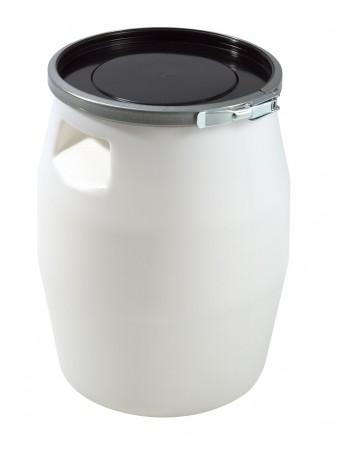 FÛT 30 litres BLANC, GENOUILLERE METAL et COUVERCLE NOIR - GILAC