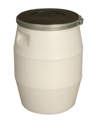 FÛT 50 litres BLANC, GENOUILLERE METAL et COUVERCLE NOIR - GILAC
