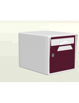 Boite aux lettres 1 porte blanche-porte bordeaux - CREASTUCE-19-SF