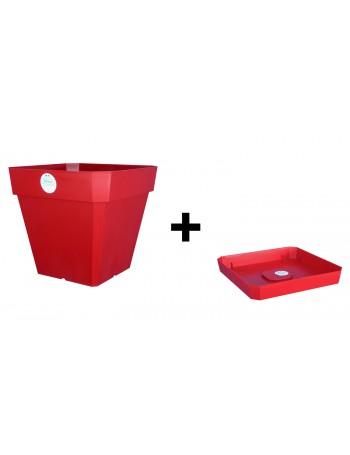 Pot et Soucoupe SOLEILLA Carré 30cm Rouge - RIVIERA